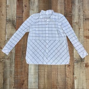 J. Jill | White Plaid Style Long Sleeve Button Up